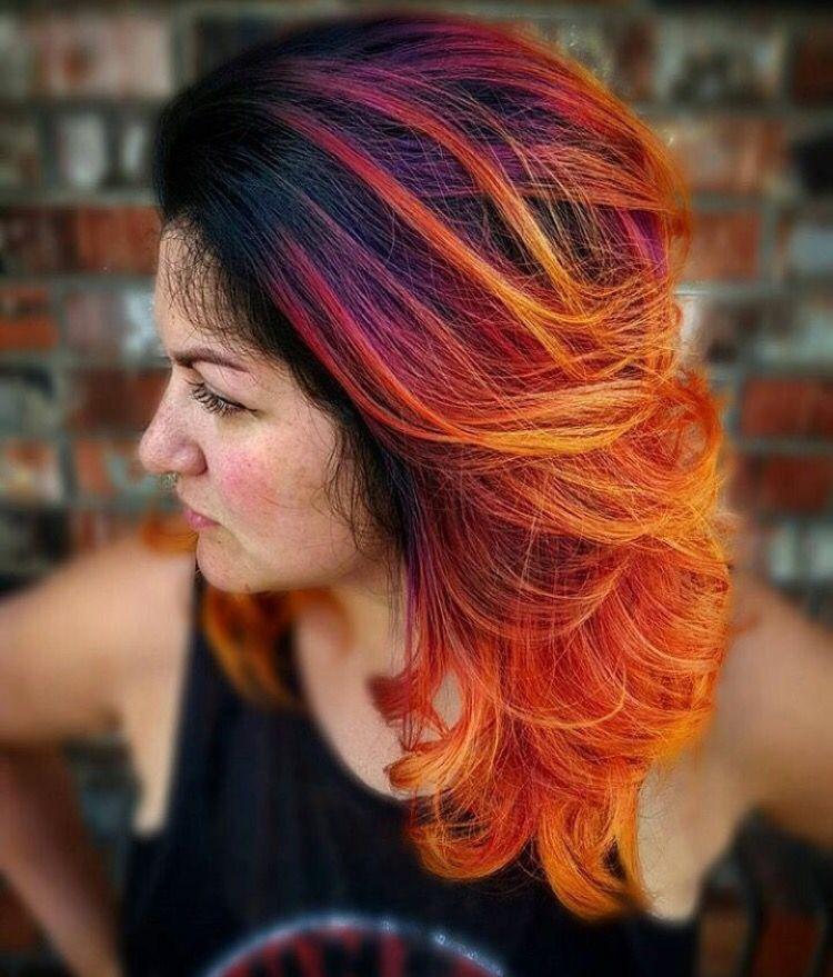 Окрашивание волос как пламя фото