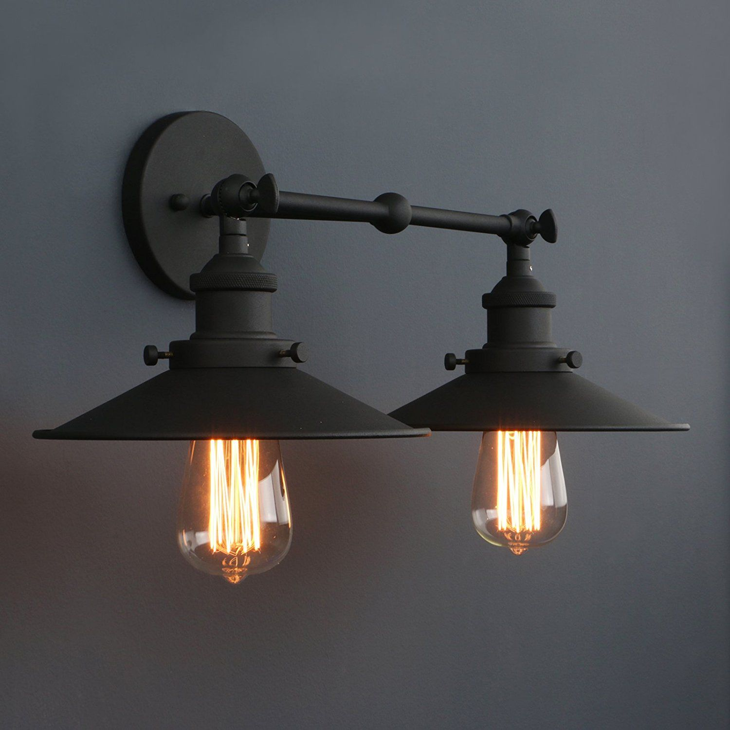 d19333d4e894d Phansthy Vintage Industrial 2-Light Wall Sconce 8.7 Inch Flared ...