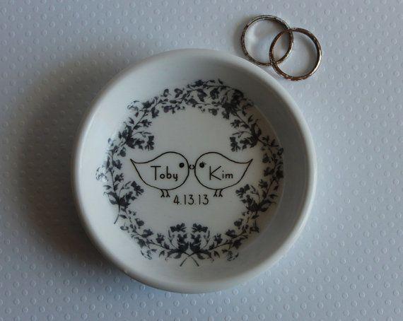 CUSTOM Ceramic Ring Holder  Love Birds  your by aphroditescanvas,