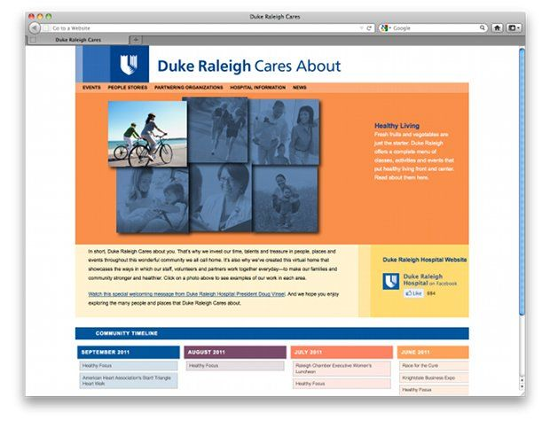 Duke Raleigh Cares is a section of the website for Duke Raleigh Hospital. It features stories and events from real people in the community.