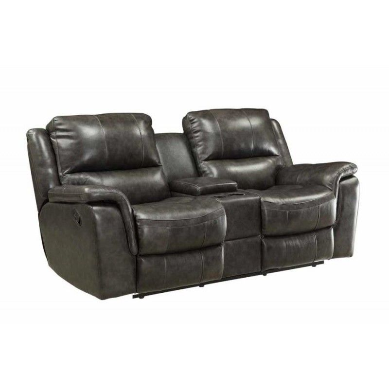 Wingfield Two Tone Charcoal Top Grain Leather Match Motion Loveseat Leather Reclining Loveseat Recliner Love Seat