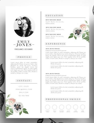 Adorable editable floral 2-page resume template in psd format and - ms word format resume
