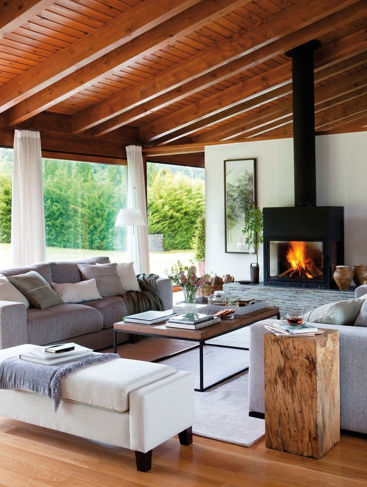 ⇀ Casas con #chimenea ↼ Inspírate y vive tu sueño de #INVIERNO - chimeneas interiores