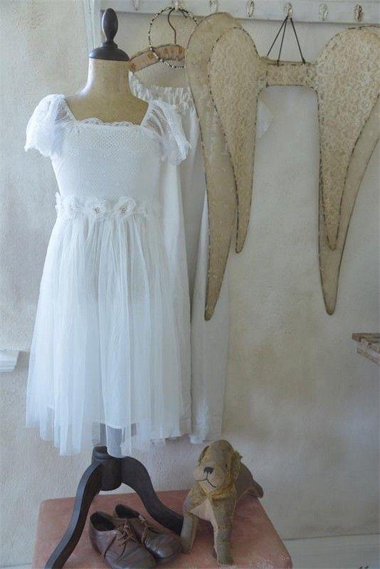 14c95d7d6a3 Robe enfant fée vintage manches courtes Jeanne d Arc Living tulle broderie  dentelle blanche romantique shabby chic nordique
