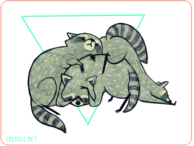 was visited by three chubby raccoon siblings tonight terribly adorable i had to draw them