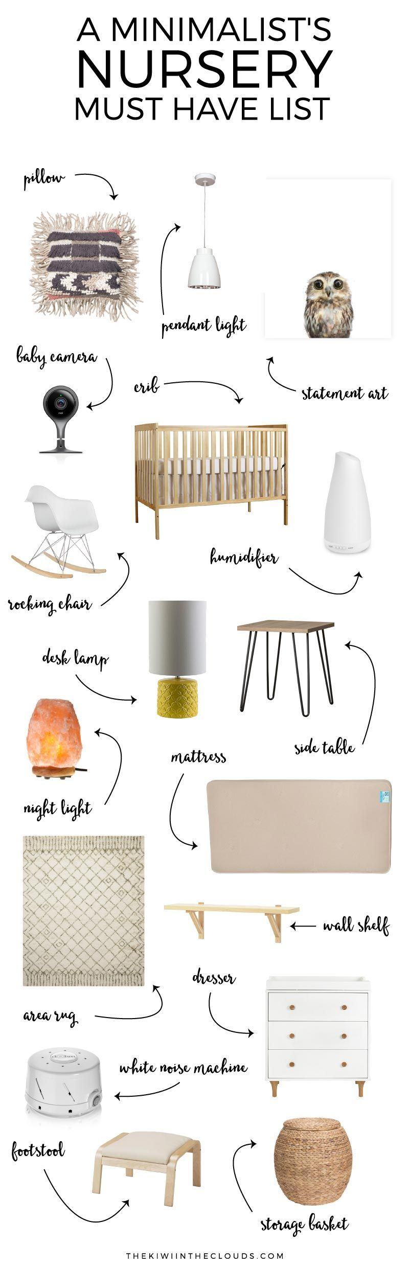 Essentials: A Minimalist Nursery This fabulous guide shows you how to use nursery essentials to create a minimalist nursery filled with style and function. And bonus: it comes with a FREE nursery planning checklist! Click through for all the source details and to download your free checklist.This fabulous guide shows you how to use nursery esse...