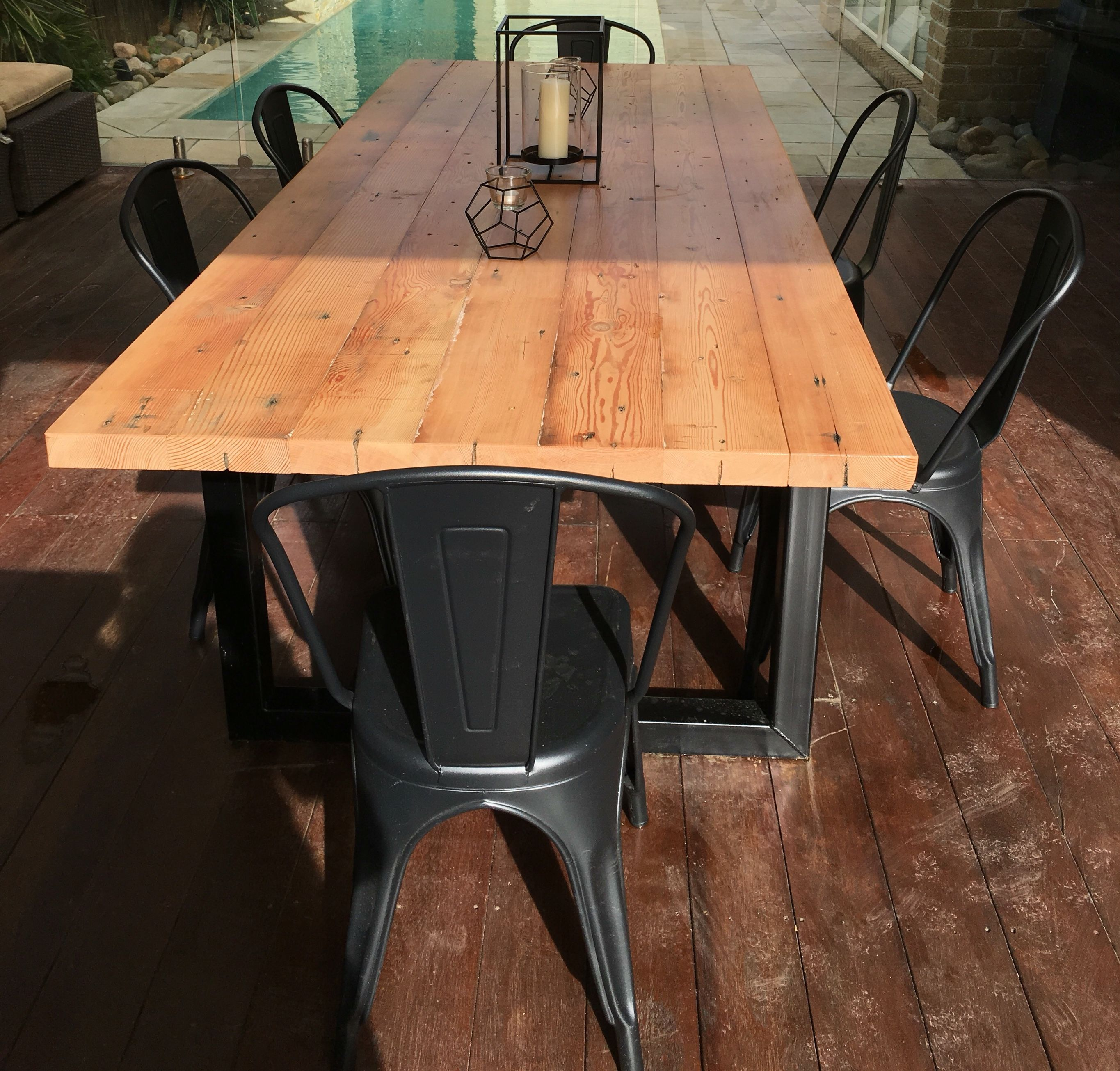 Recycled Oregon industrial dining table made by