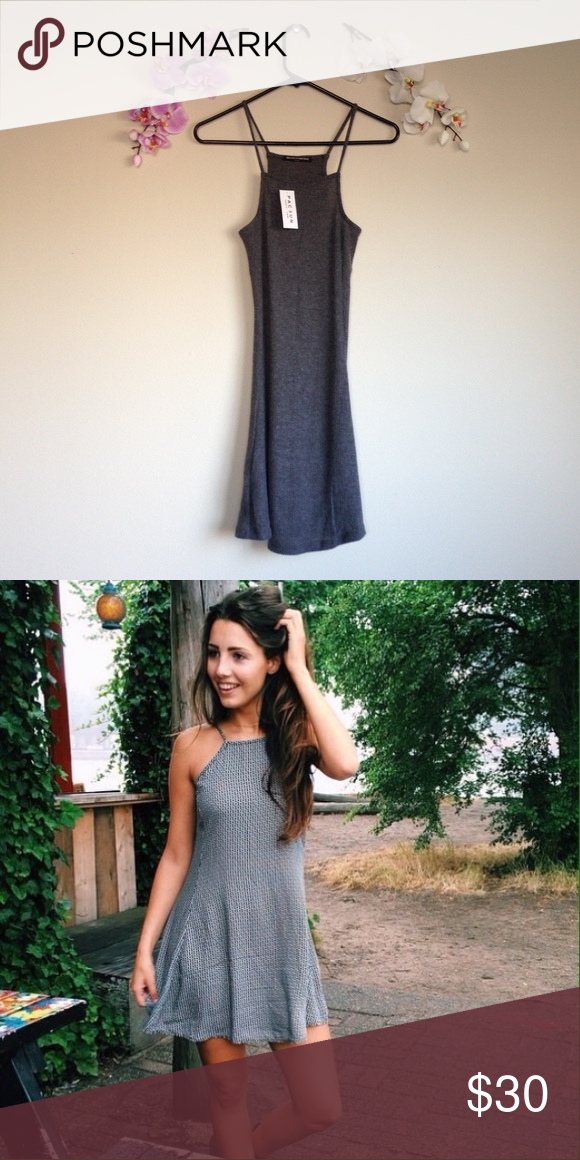Grey Abigail Dress Brandy Melville gray high neck dress. Square cut neckline. Soft ribbed texture. 🅿️🅿️Ⓜ️👍🏼 Brandy Melville Dresses