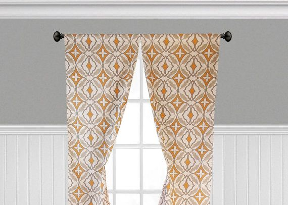 Orange Gray Taupe Curtains Geometric Print Window Treatments Curtain