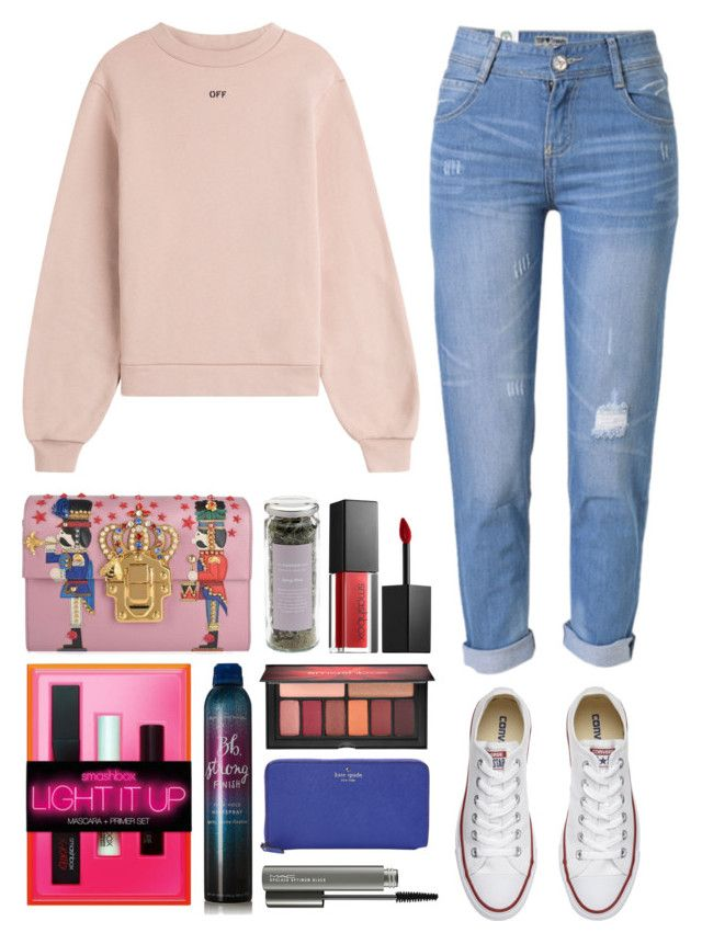 """""""5.453"""" by katrina-yeow ❤ liked on Polyvore featuring Off-White, WithChic, Converse, Dolce&Gabbana, Smashbox, Bumble and bumble, Kate Spade and MAC Cosmetics"""