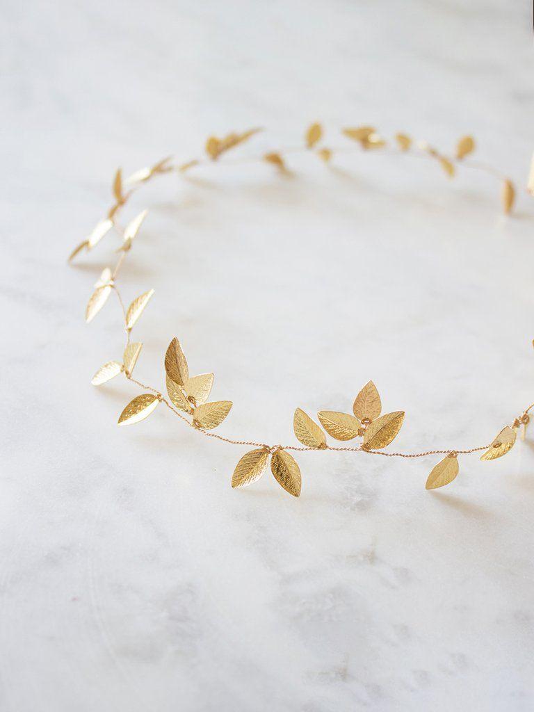 Haarschmuck Mit Perlen Und Blättern In Gold Iverness