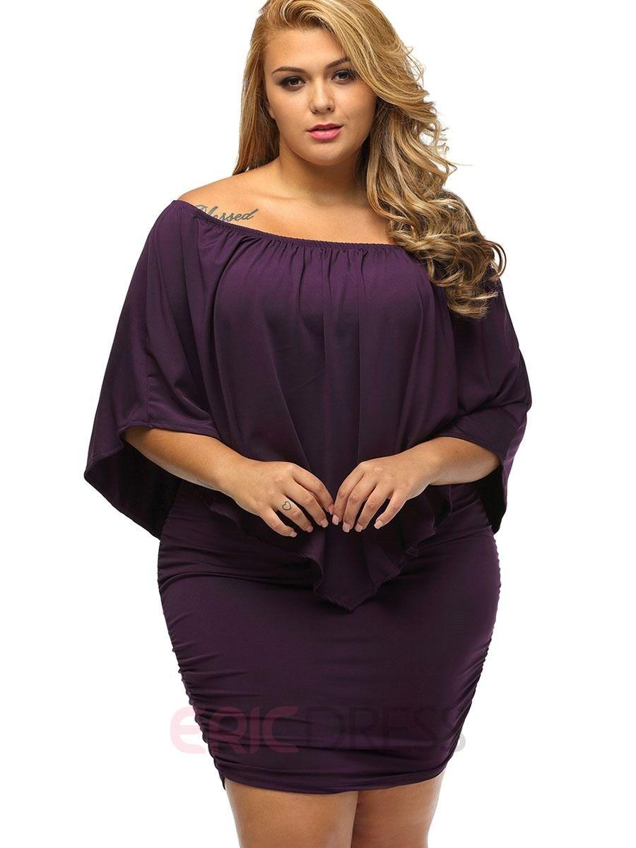 ac6618a29c8 Ericdress Plain Batwing Sleeve Plus Size Bodycon Dress