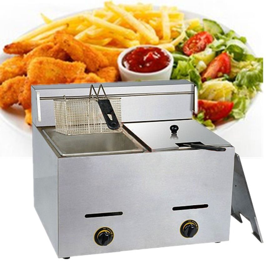 1pc 2016 Stainless Steel Gas Deep Double Fryer Mini Gas Fryer Potato Chip Fryer Machine Chicken Frying Machine Fryer Machine Gas Fryer Potato Chips