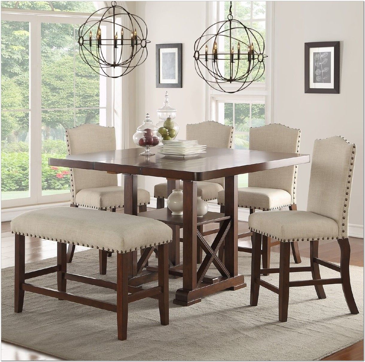 6 Piece Counter Height Dining Set With Bench Modern Dining Room