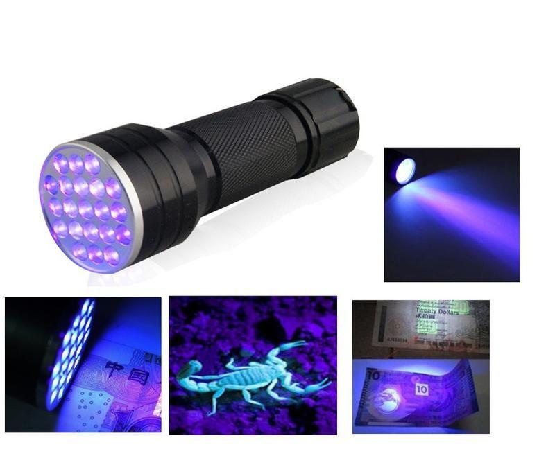 Invisible Blacklight 21 Led Ultra Violet Flashlight Torch Light