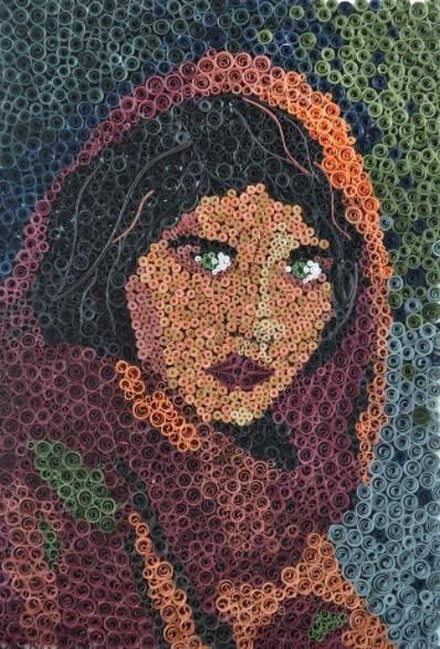 Quilled Portrait Afghan Girl original photo by StylishIndulgence