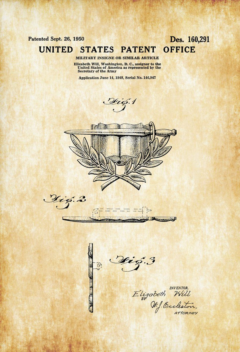 Military Army Insigne Patent – Patent Print, Wall Decor, Military ...