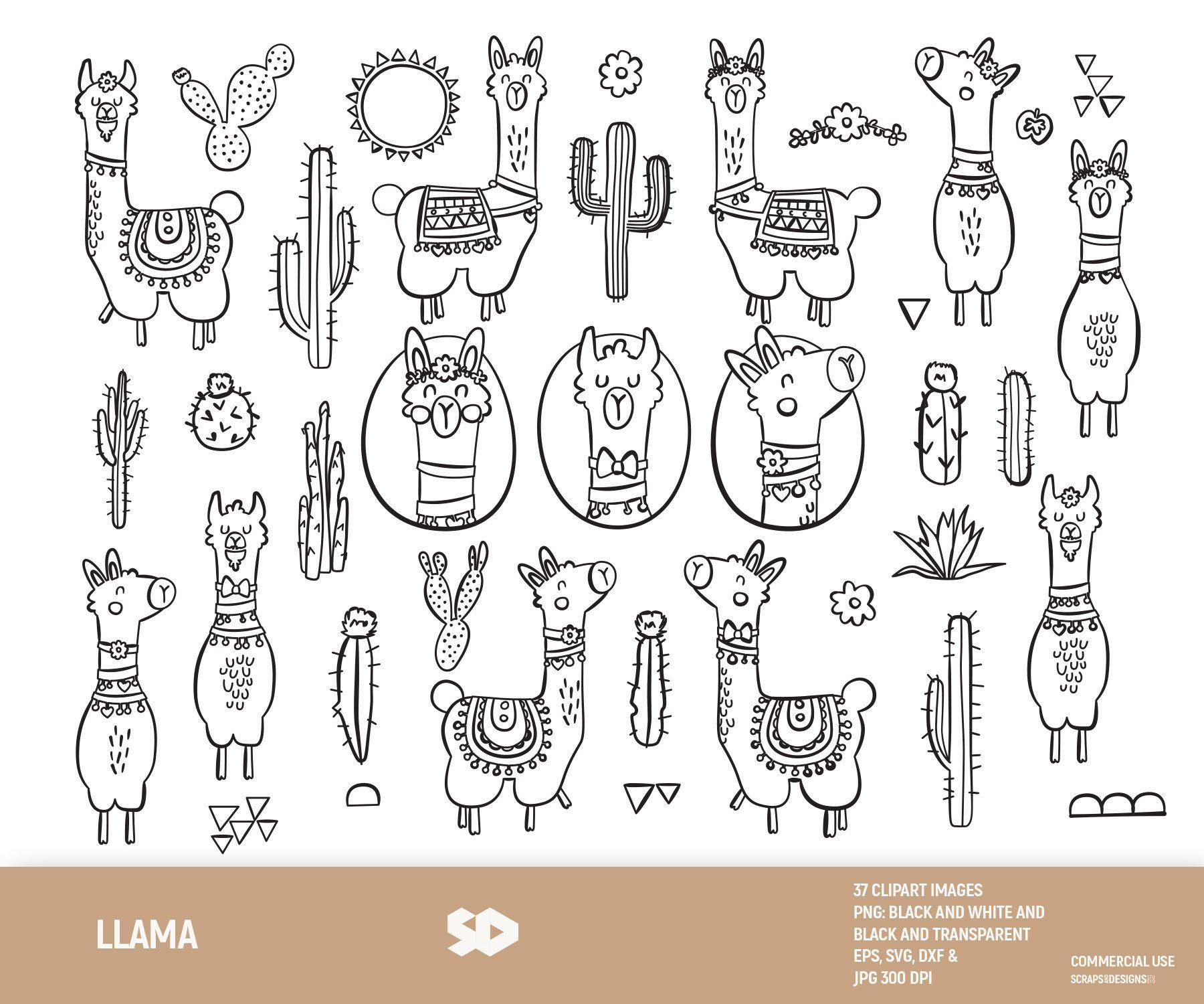 llama clipart alpaca clip art cactus digital stamp