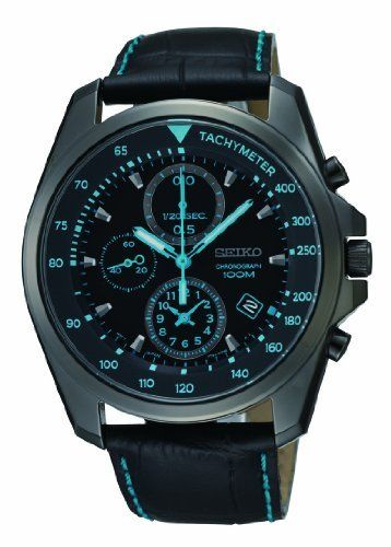 b054b56b3de5 Seiko Chronograph Black Dial Black PVD Stainless Steel Leather Mens Watch  SNDD71 Seiko.  154.12. Round Pvd Stainless Steel Case. Water Resistance    10 ATM ...