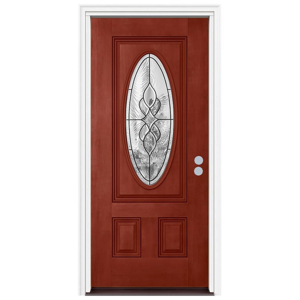 Jeld Wen 36 In X 80 In 3 4 Oval Lite Carillon Black Cherry Stained Fiberglass Prehung Left Hand Front Door W Brickmould Thdqc231200105 The Home Depot Cherry Stain Fiberglass Door Stained Doors