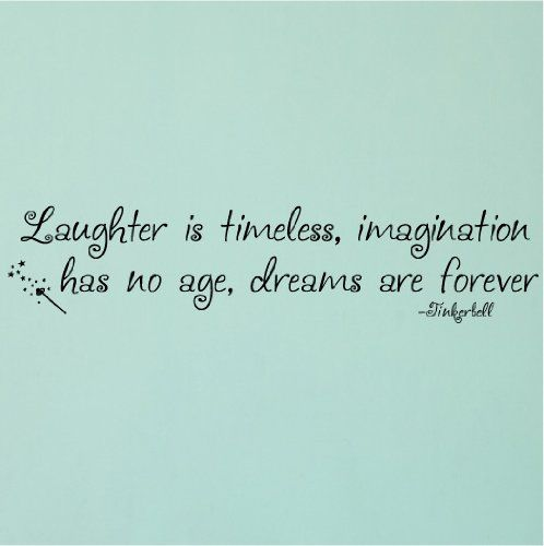 Chase your dreams laughter timeless imagination ageless laughter is timeless imagination has no age dreams are forever tinkerbell vinyl lettering wall quote sticker voltagebd Choice Image
