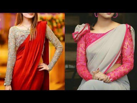 c177e8c17c Best plain Saree with designer net blouse designs ideas/Modern. stylish saree  design ideas - YouTube