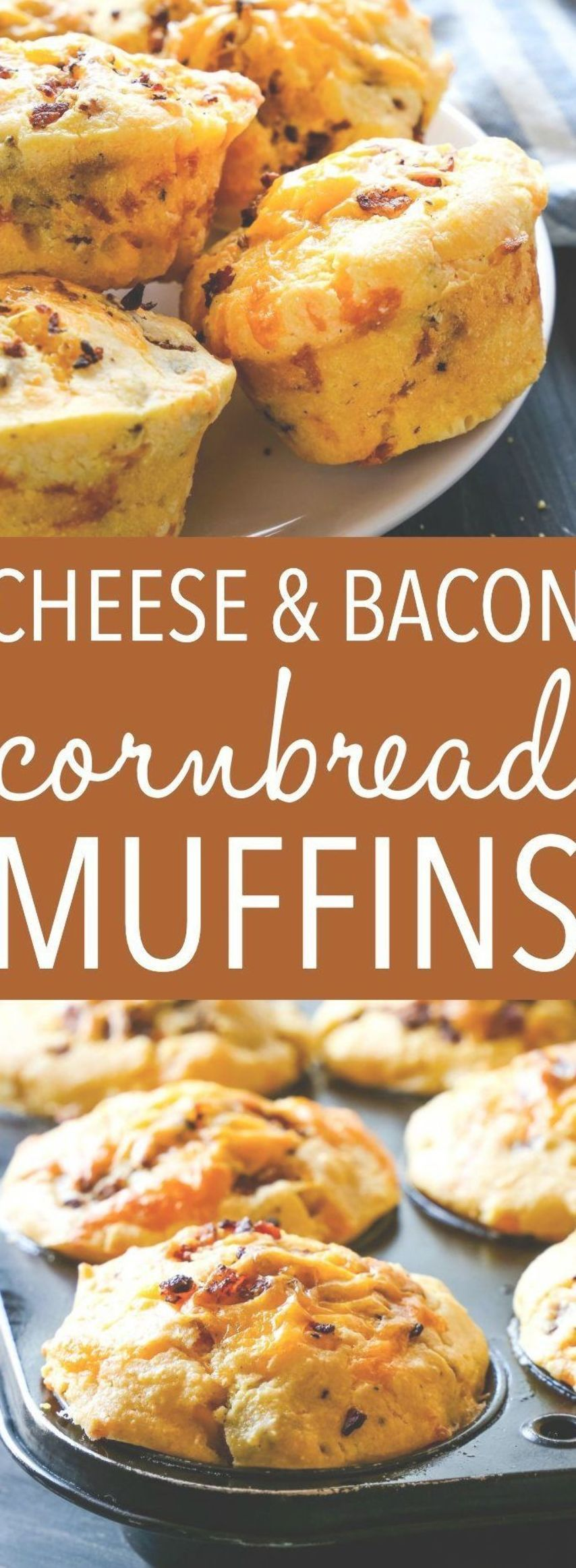 These Cheddar Cheese and Bacon Cornbread Muffins make the perfect snack or side dish for fall! Perf