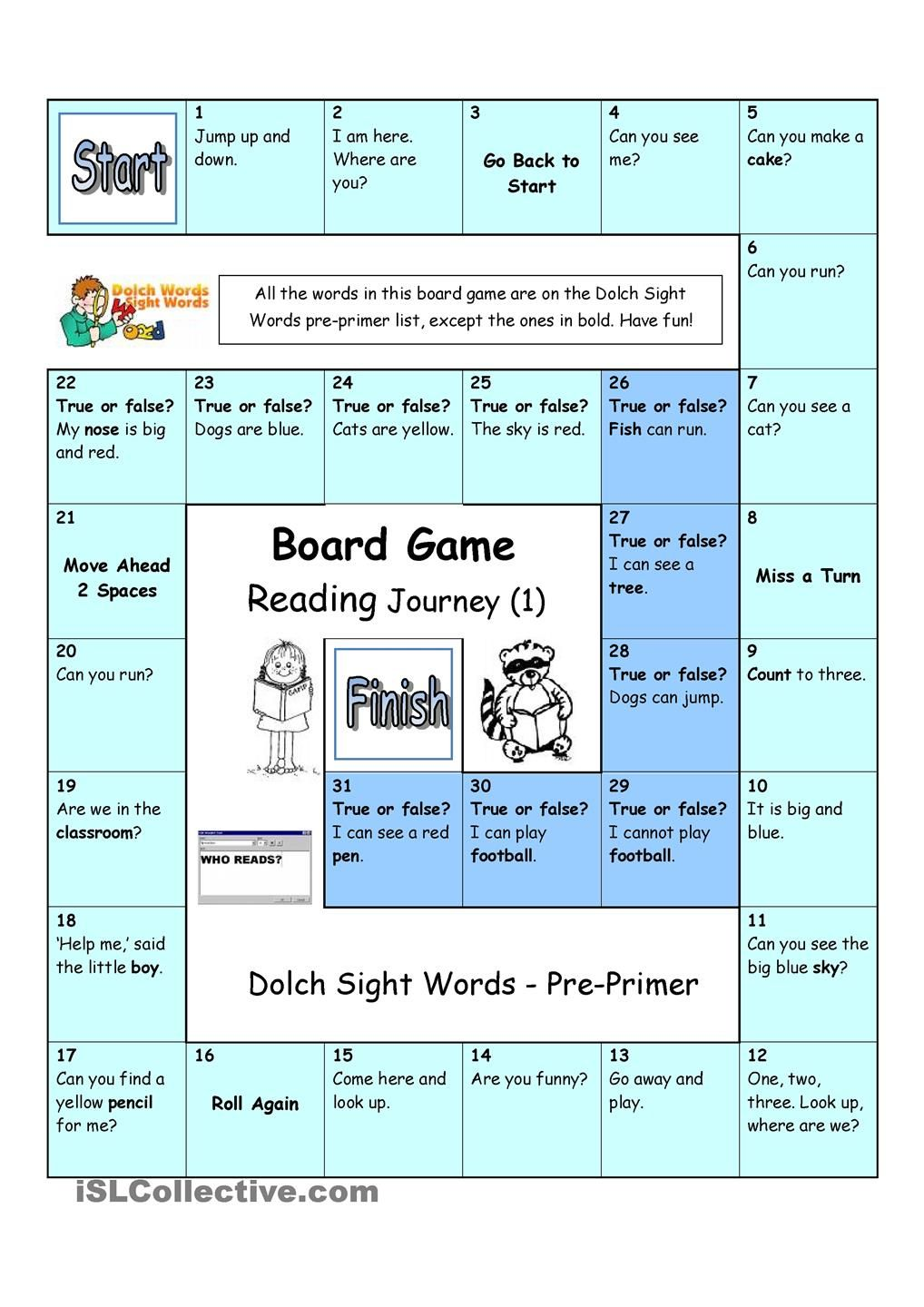 worksheet Pre Primer Sight Word Worksheets board game reading journey 1 dolch sight words pre primer worksheet free esl printable worksheets made by teachers