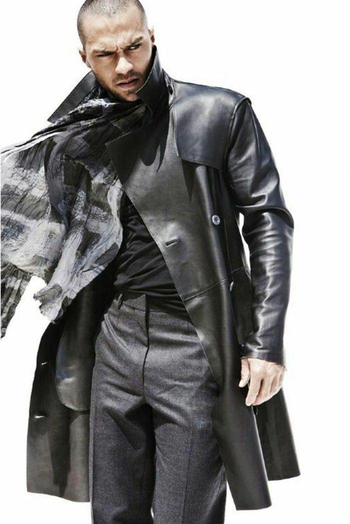 543f5c7849f veste homme long en cuir noir les dernieres tendances de la mode homme