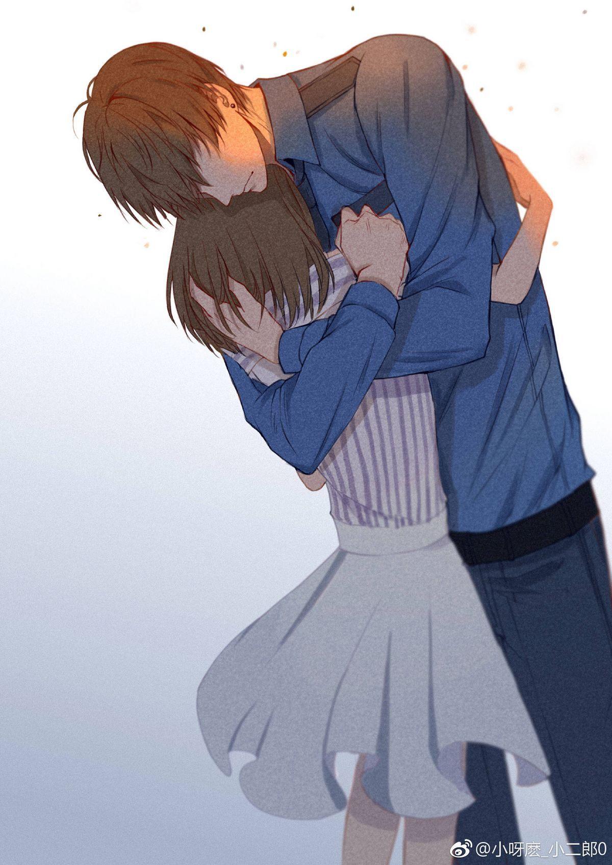 Anime couple hug wallpaper