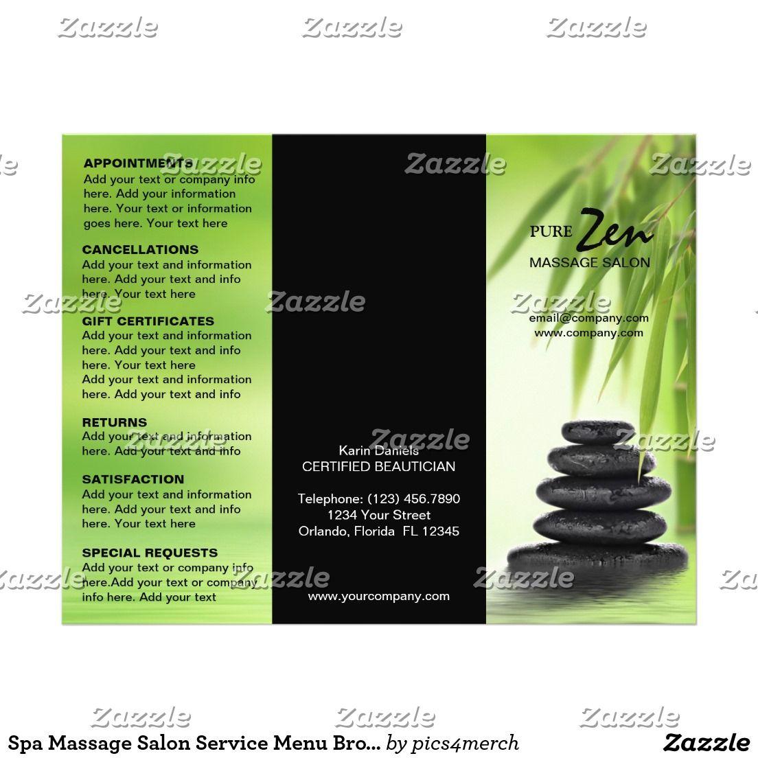 Spa Massage Salon Service Menu Brochure Template Branding Ideas