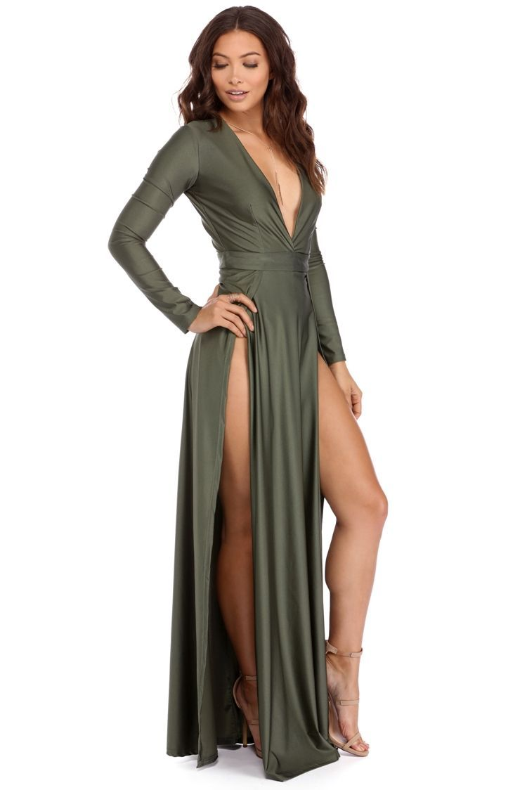 102fa187ccd Desiree Olive Double Slit Dress | Get ready to own the night! Desiree  features a deep V neckline, long sleeves and a floor length skirt with two  high slits.