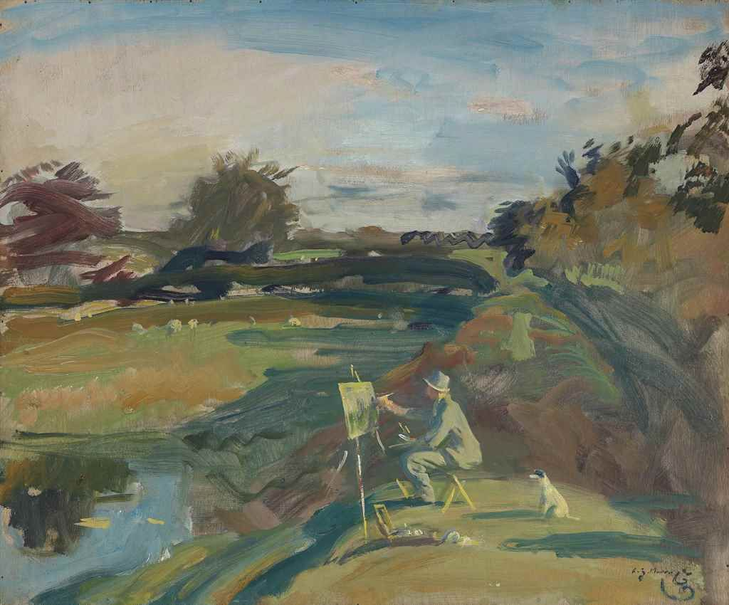 "The artist painting on Exmoor (c.1944). Sir Alfred James Munnings (English, 1878-1959). Oil on board. The artist painting on Exmoor is a rare self portrait of Munnings at work, epitomising his love of plein air painting. Yet it was executed soon after he had been elected President of the Royal Academy and he wryly captioned the illustration of it in his autobiography: ""Back on Exmoor I was working again, not able to realise what I had taken on."""