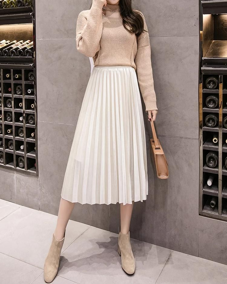 New beige pleated velvet midi length women skirt metallic autumn fall winter