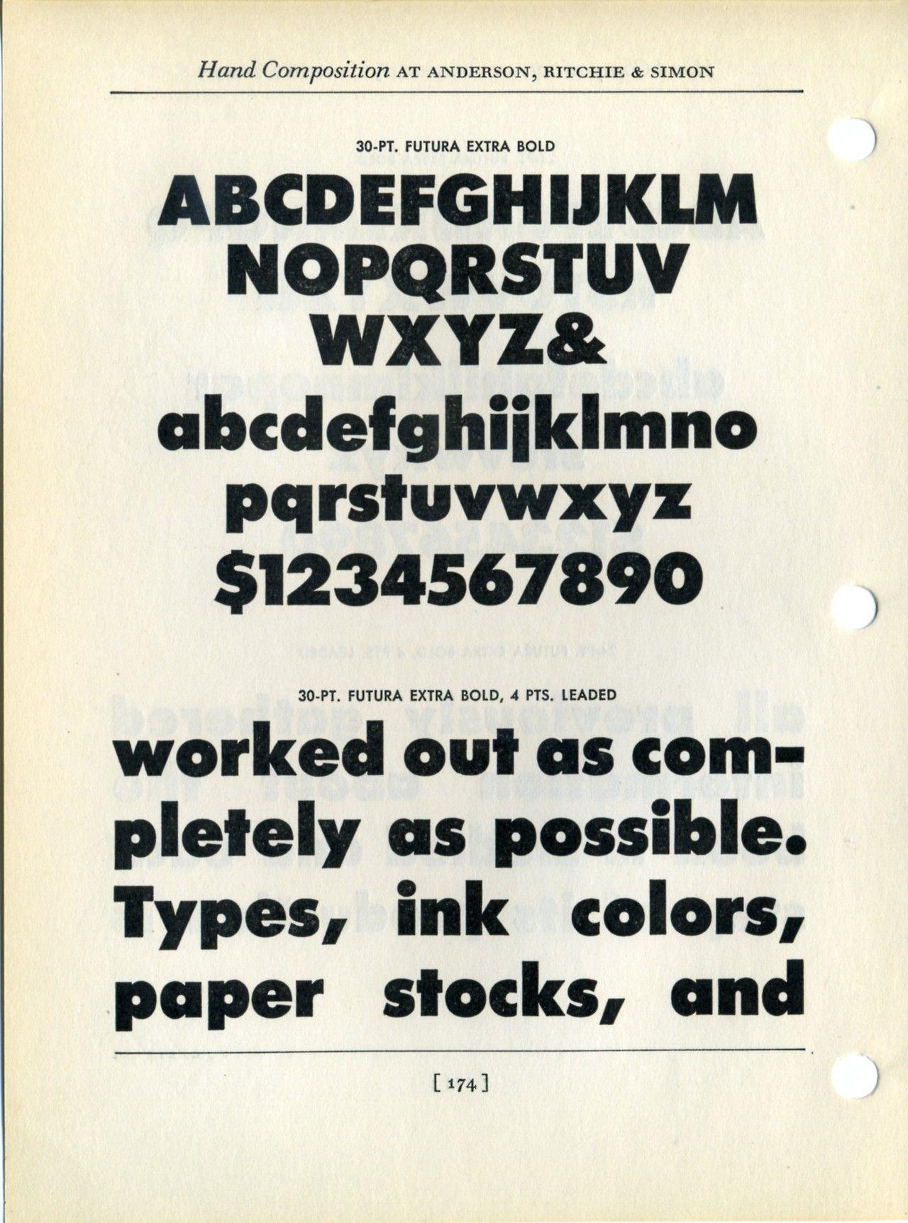 Futura Bold extra bold type specimen  Check out that g! | Typo