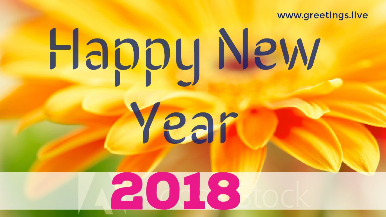 new year greeting with yellow flowers