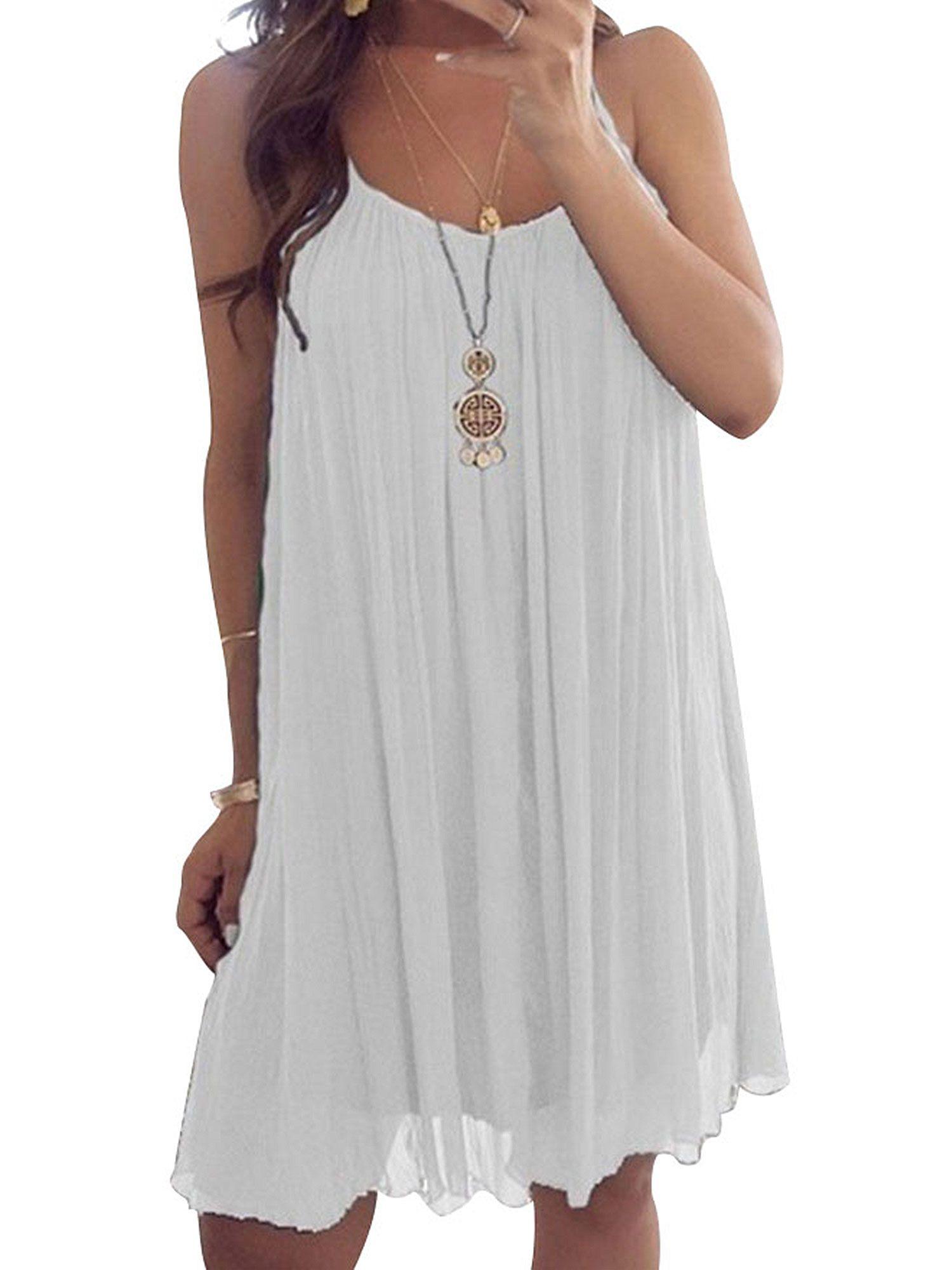 Summer Spaghetti Strap Chiffon Sundress For Women Plus Size Sleeveless Beach Slip Dress Top Shirt Dres Short Mini Dress Summer Dresses For Women Womens Dresses [ 2000 x 1500 Pixel ]
