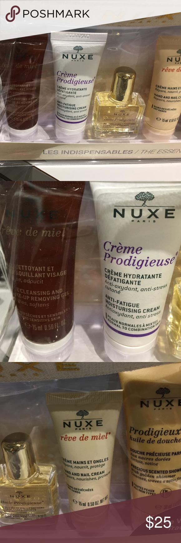 Nwt::nuxe kit Face /makeup cleanser,anti fatigue cream,dry oil,hand/nail cream,shower gel nuxe Makeup Luminizer