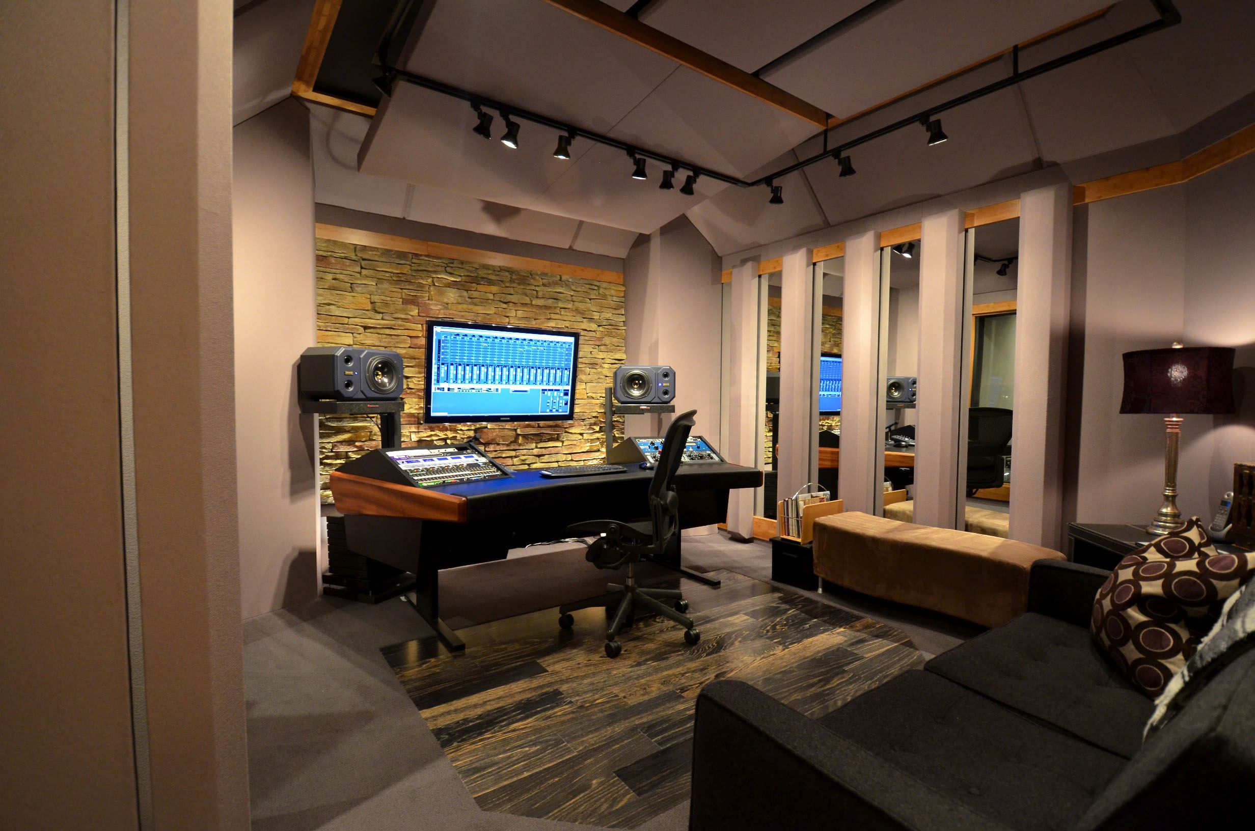 Audio room equipment of sound recording and smart layout Nice house music