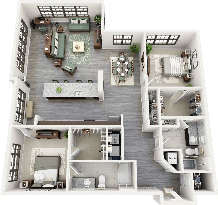 50 plans 3d d 39 appartement avec 2 chambres plans 3d et for Amnagement maison 3d