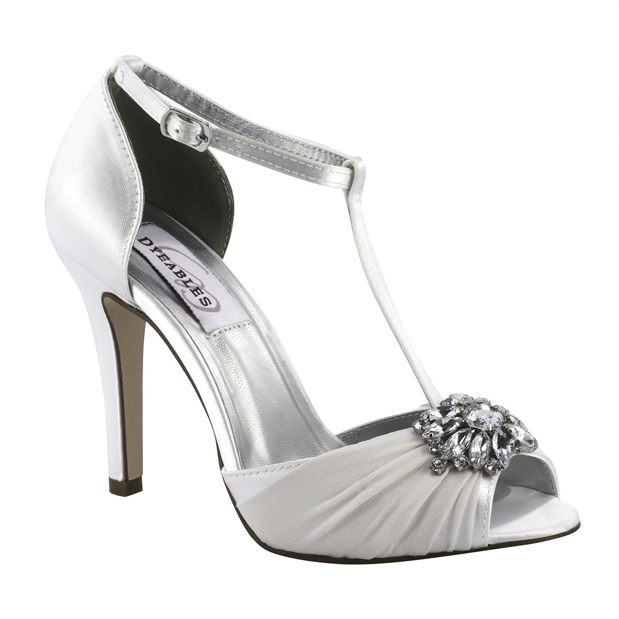 Everly White Satin Bridesmaids Heels Dyeable Shoes T Strap Heels