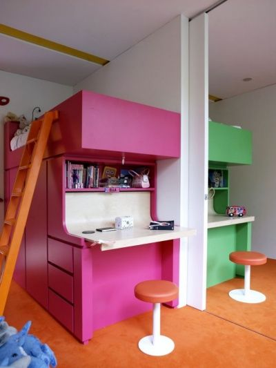 A sliding wall panel divides the room into two Dividing rooms