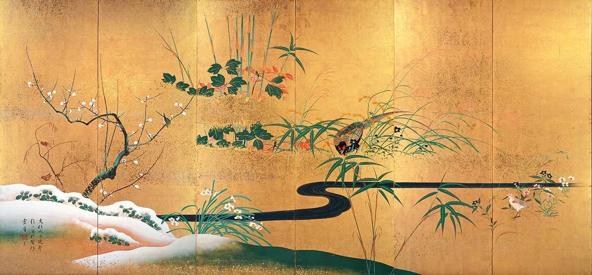 四季花鳥図屏風 しきかちょうずびょうぶ 酒井抱一