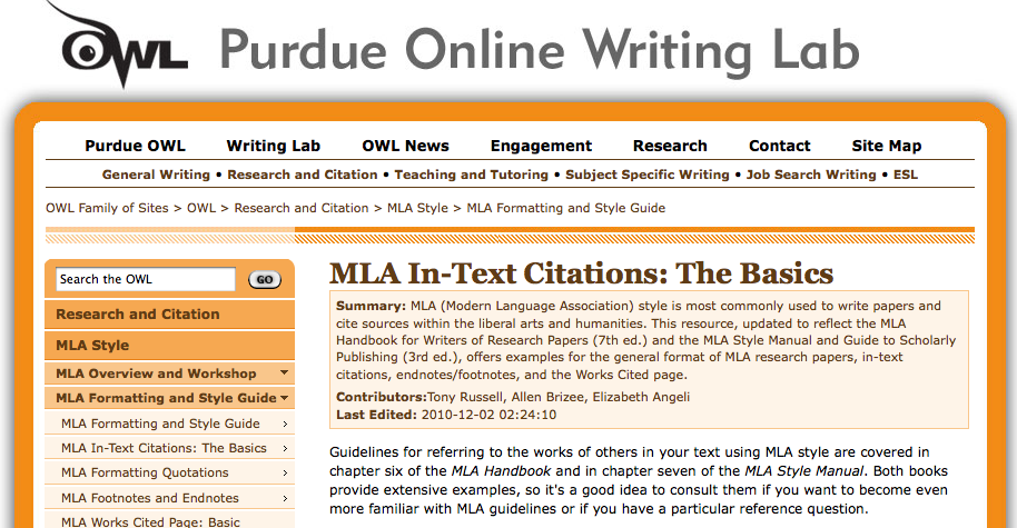 owl purdue online mla writing lab provides process of parenthetical citation