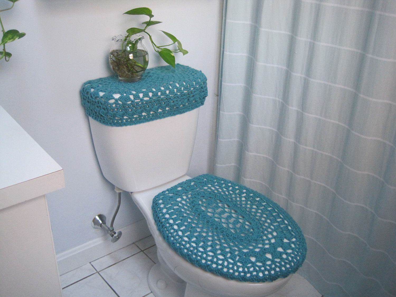 Marvelous Set Of 2 Crochet Covers For Toilet Seat U0026 Toilet Tank Lid, Cozies   Aqua