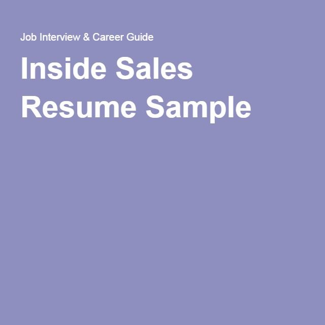 Inside Sales Resume Sample Barcelona Pinterest Sample html - Sample Technology Sales Resume