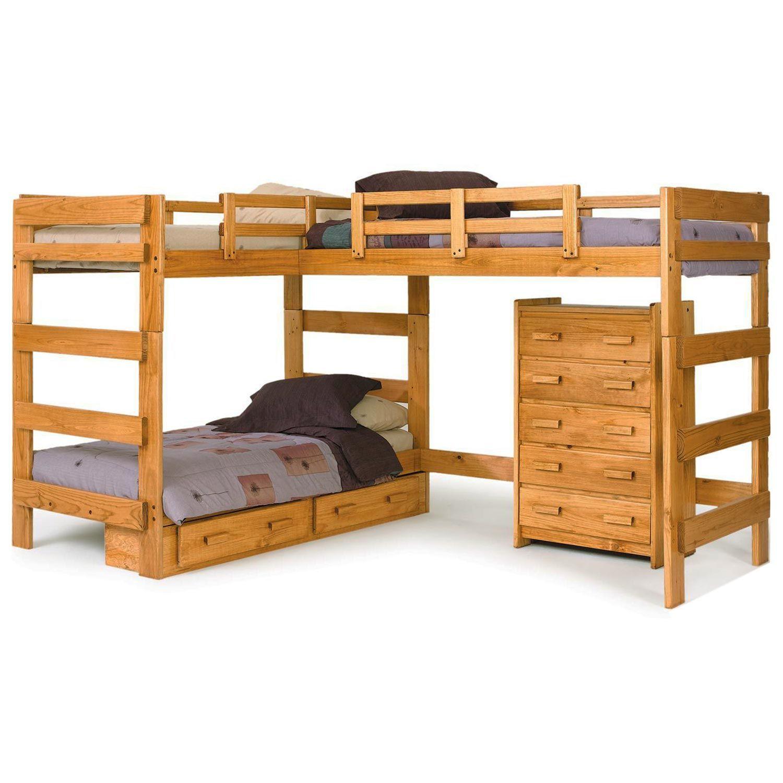 LShaped Loft Bunk Bed Under Bed Storage, Honey Finish