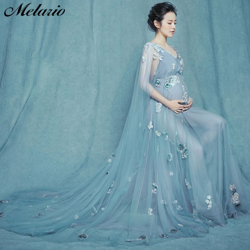 d372701a209d2 Melario Maternity dress 2019 Maternity Photography Props Maternity Flower  Lace Dress shoulderless Voile Summer Pregnant Dress