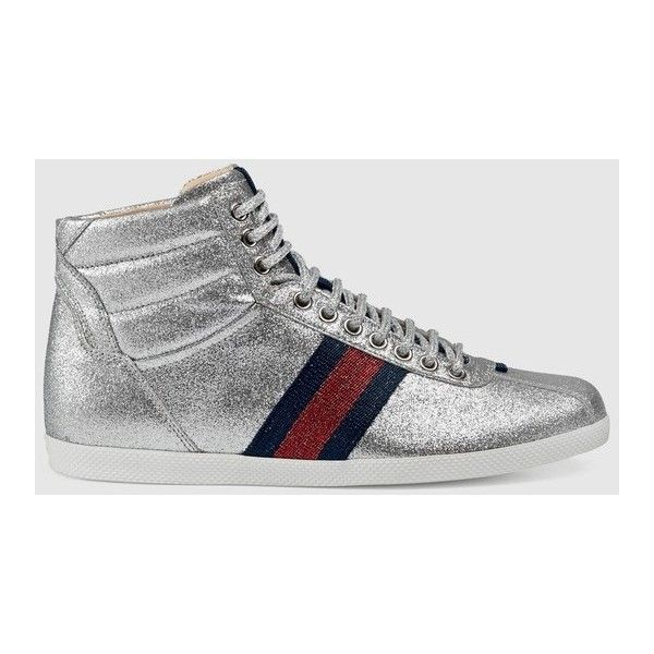 25d0ab0a258 Gucci Glitter Web High-Top Sneaker ( 595) ❤ liked on Polyvore featuring  shoes