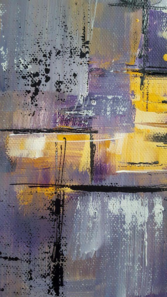 Photographie peinture moderne Gris Jaune Violet Fichier (avec images) | Peinture moderne ...